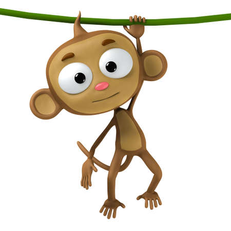 cute cartoon monkey: funny cartoon character brown monkey