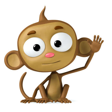 monkey cartoon: mono de car�cter marr�n de historieta divertida sobre fondo blanco