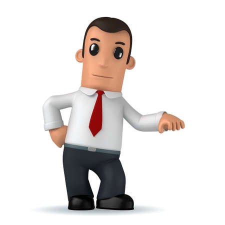 3d funny cartoon character manager on white background photo