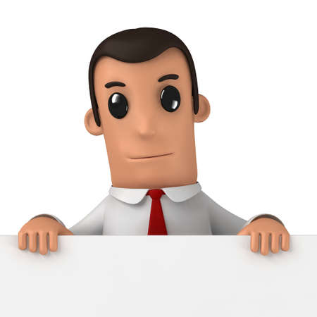 financial advice: 3d funny cartoon character manager on white background