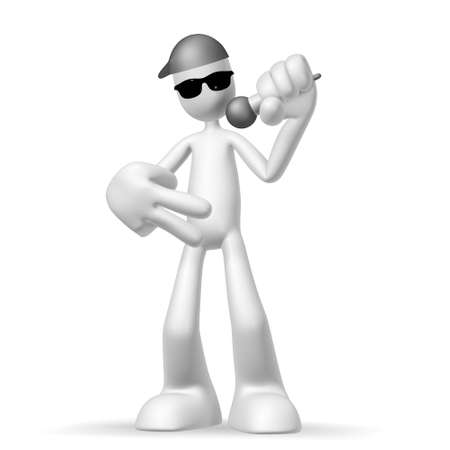 Isolated abstract 3D character on white background photo