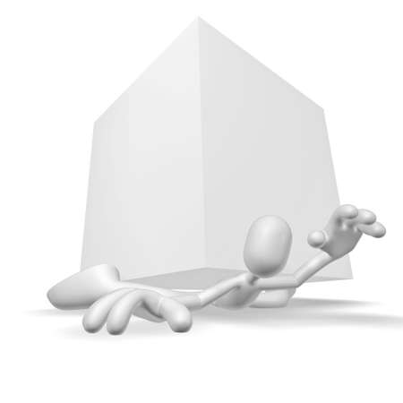 below: Isolated abstract 3D character on white background