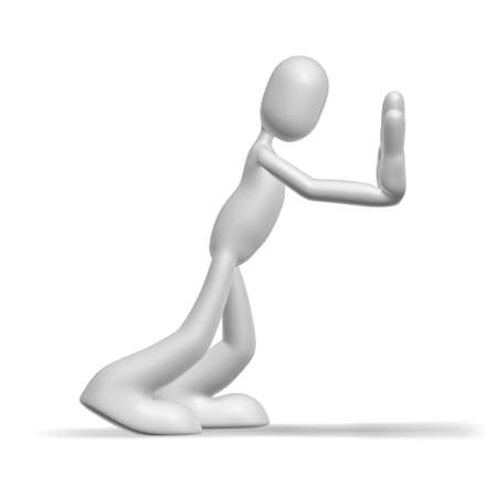 pushing: Geïsoleerde abstract 3D teken op witte achtergrond