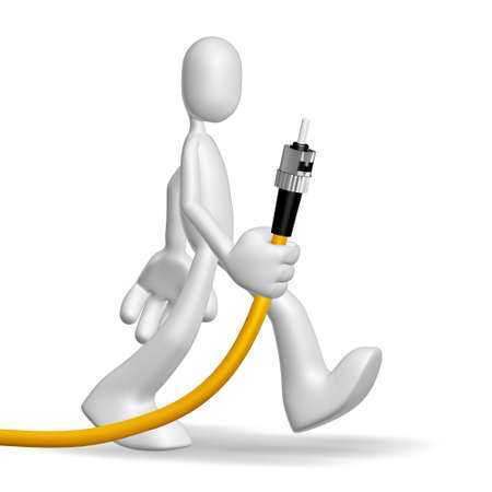 cable red: Aislado carácter abstracto de 3D sobre fondo blanco Foto de archivo