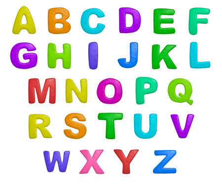 alphabetical order: isolated cartoon color plasticine alphabet on a white background Stock Photo
