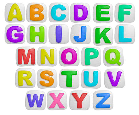 grammar: isolated cartoon color plasticine alphabet on a white background Stock Photo