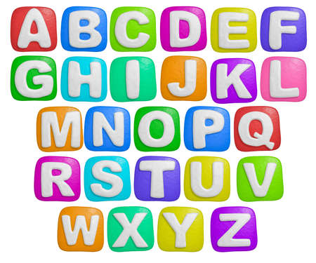 letter blocks: isolated cartoon color plasticine alphabet on a white background Stock Photo
