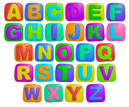 isolated cartoon color plasticine alphabet on a white background photo