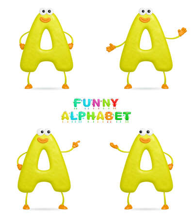 isolated a fun cartoon character A on a white background photo