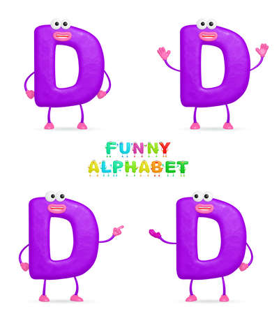 Isolated abstract 3D character D on white background photo