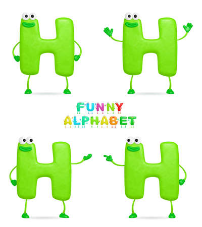 plasticine: Isolated abstract 3D character H on white background