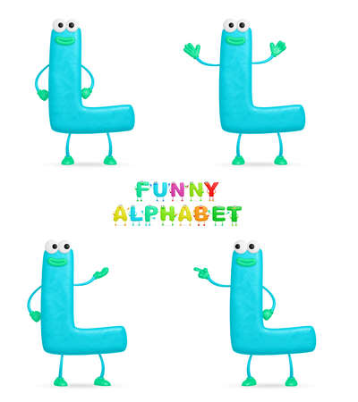 Isolated abstract 3D character L on white background