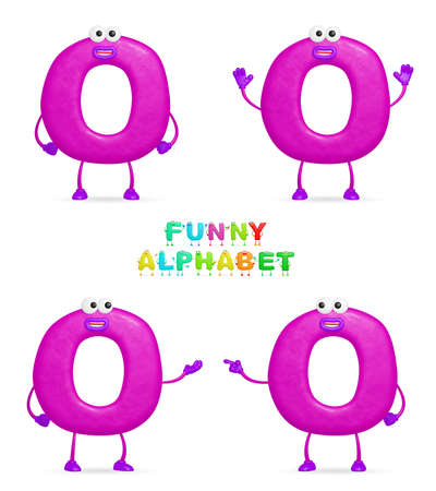 isolated a fun cartoon character O on a white background photo