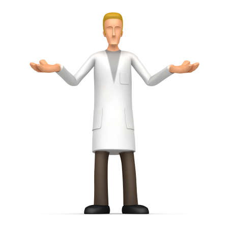 alternative practitioner: scientist on a white background. next to the scientist, you can place your product or the required information