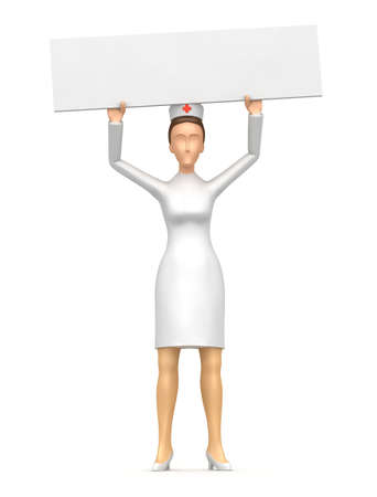 character keeps a blank poster on the net. In the poster you can put your information Stock Photo - 6464189