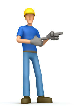 manufactory: Cartoon character on a white background ambitious to promote your product. Next you can place the information you need or object