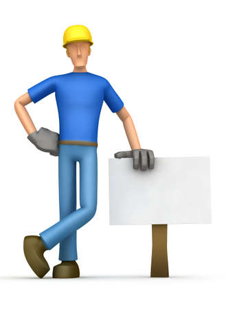 cartoon carpenter: On the blank board you can add your text, etc. Stock Photo