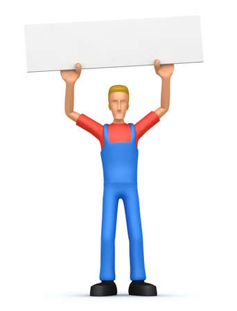 repairman keeps a blank poster on the net. In the poster you can put your information Stock Photo - 6483811