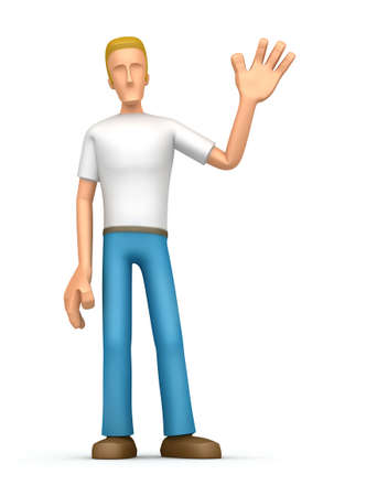 arms outstretched: Illustration of character on a white background welcoming visitors Stock Photo