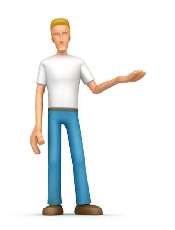 character presents product. At the characters hand can put your product or place the necessary information photo