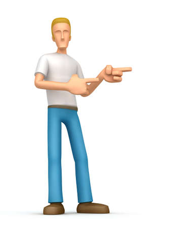 Cartoon character on a white background ambitious to promote your product. Next you can place the information you need or object photo
