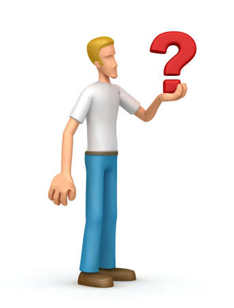suspicion: Illustration of an abstract character on a white background for use in presentations, etc.