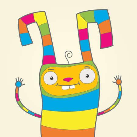 schattige dieren cartoon: Multicolor konijn