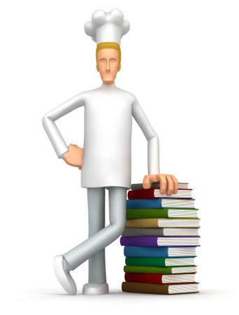learning to cook: Illustration of an abstract character on a white background for use in presentations, etc.