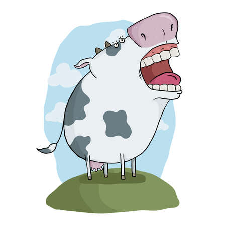 illustration of a funny cartoon mad cow Vector