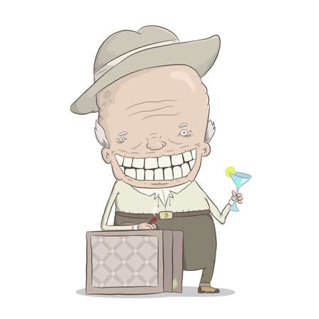 cigar cartoon: cartoon illustration of the old millionaire with  cigar, cocktail and suitcase with money Illustration
