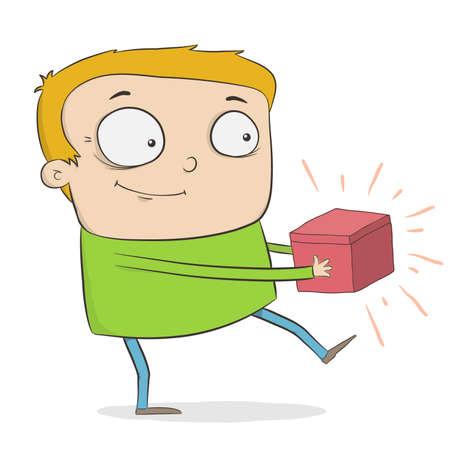 redheaded: chico pelirrojo de dibujos animados divertido tiene un cuadro rojo