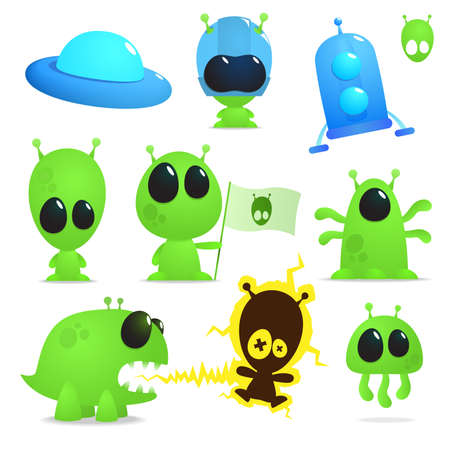 collection of cartoon aliens, monsters and spaceships Vector