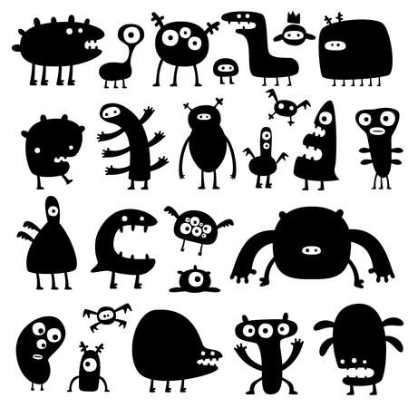 collection of cartoon funny monsters silouettes Vector