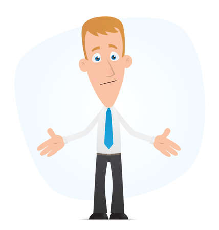 confused person: Illustration of a cartoon cute character for use in presentations, etc.