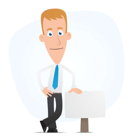 office manager: Illustration of a cartoon cute character for use in presentations, etc.