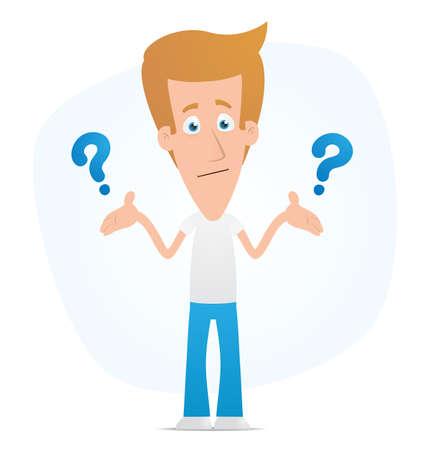 person thinking: Ilustraci�n de un personaje lindo para su uso en presentaciones, etc..