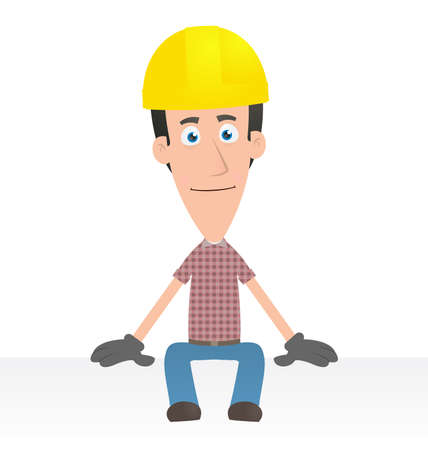 factory workers: Illustration of a cartoon cute character for use in presentations, etc.