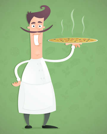 Illustration of an cartoon happy chef with pizza in his hand. Illustration