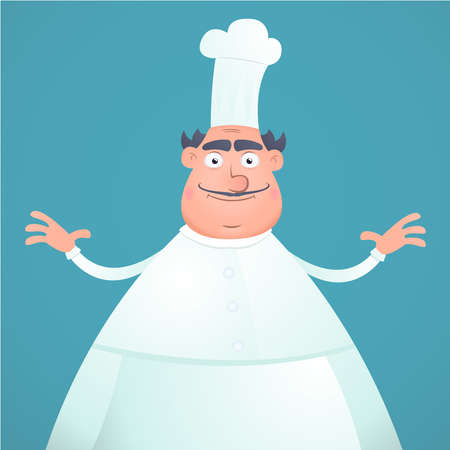 Illustration of an cartoon happy fat chef on a blue background Vector
