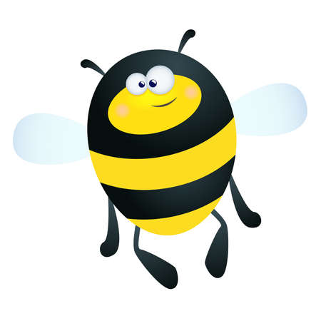 fun illustration of a happy cartoon bee on a white background Vetores
