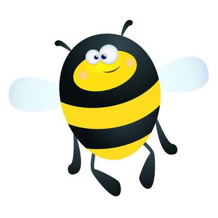 abeja caricatura: Ilustraci�n de una abeja feliz de dibujos animados sobre un fondo blanco de diversi�n