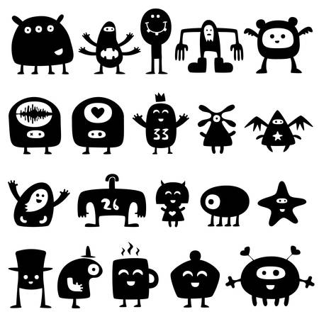 speculate: Collection of cartoon funny monsters silhouettes