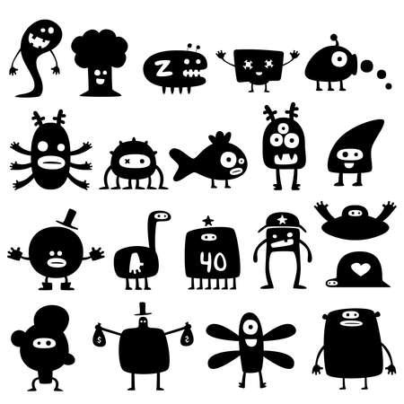 anime: Colecci�n de dibujos animados divertidos monstruos siluetas  Vectores