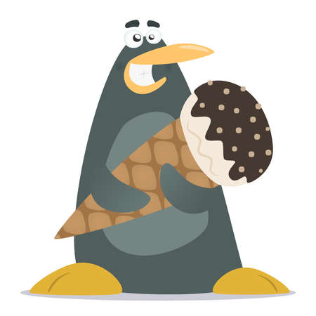 illustration of cartoon funny penguin with a  ice cream isolated on white background Vector