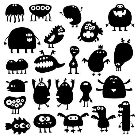 monsters: Collection of cartoon funny monsters silhouettes