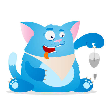 illustration of cartoon funny cat isolated on white background Vector