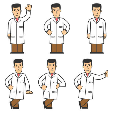 medico caricatura: 01 De conjunto de caracteres de doctor Vectores