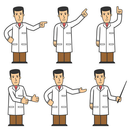 communication cartoon: Doctor character set 03
