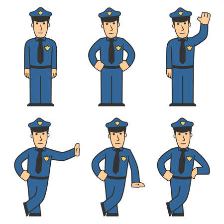 cartoon police officer: Police character set 01