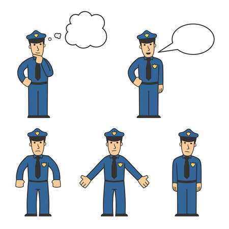 cartoon police officer: Police character set 04